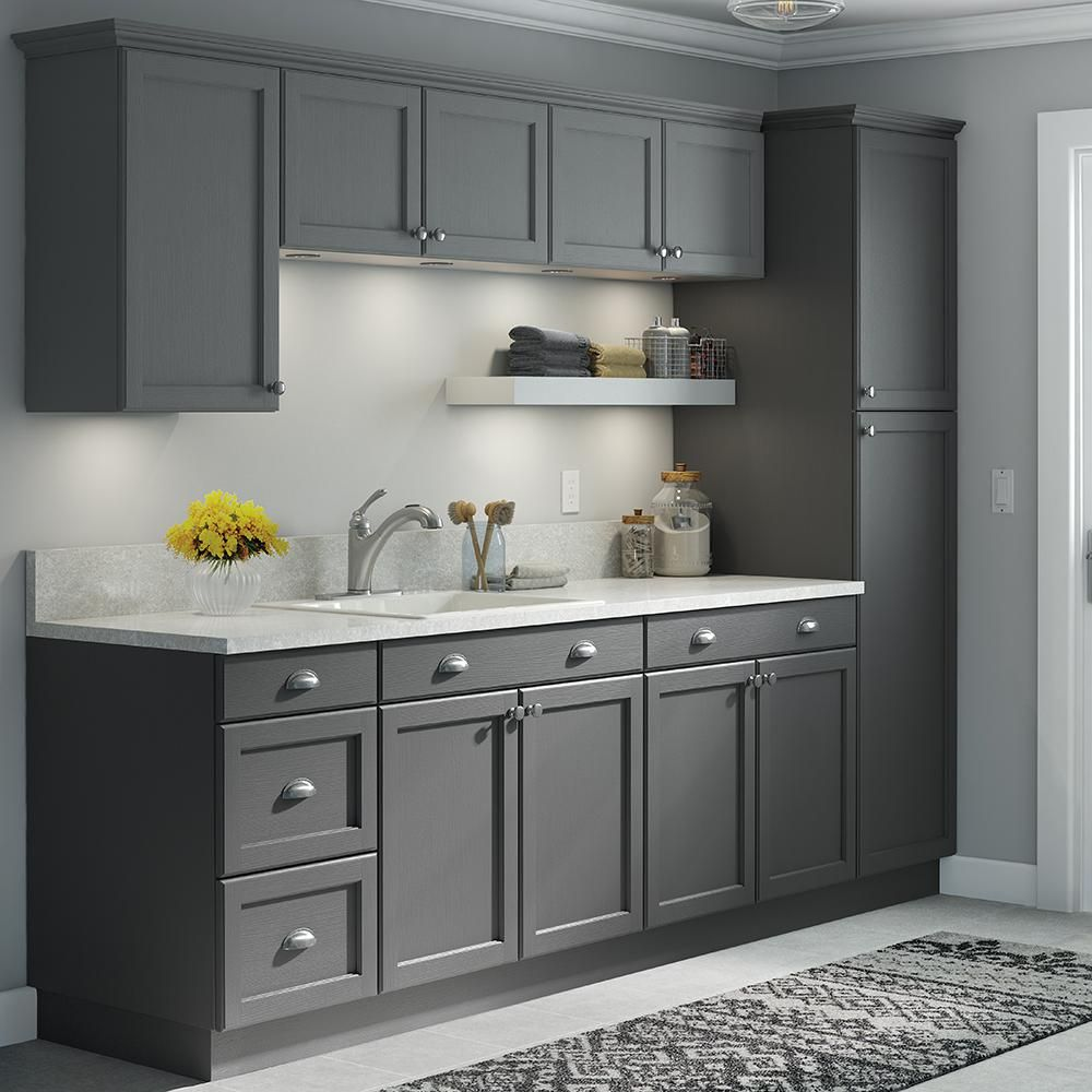 Hampton Bay Easthaven Assembled 18 X 84 X 24 63 In Pantry Utility Cabinet In Unfinished German Beech Grey Kitchen Designs Contemporary Kitchen Modern Kitchen
