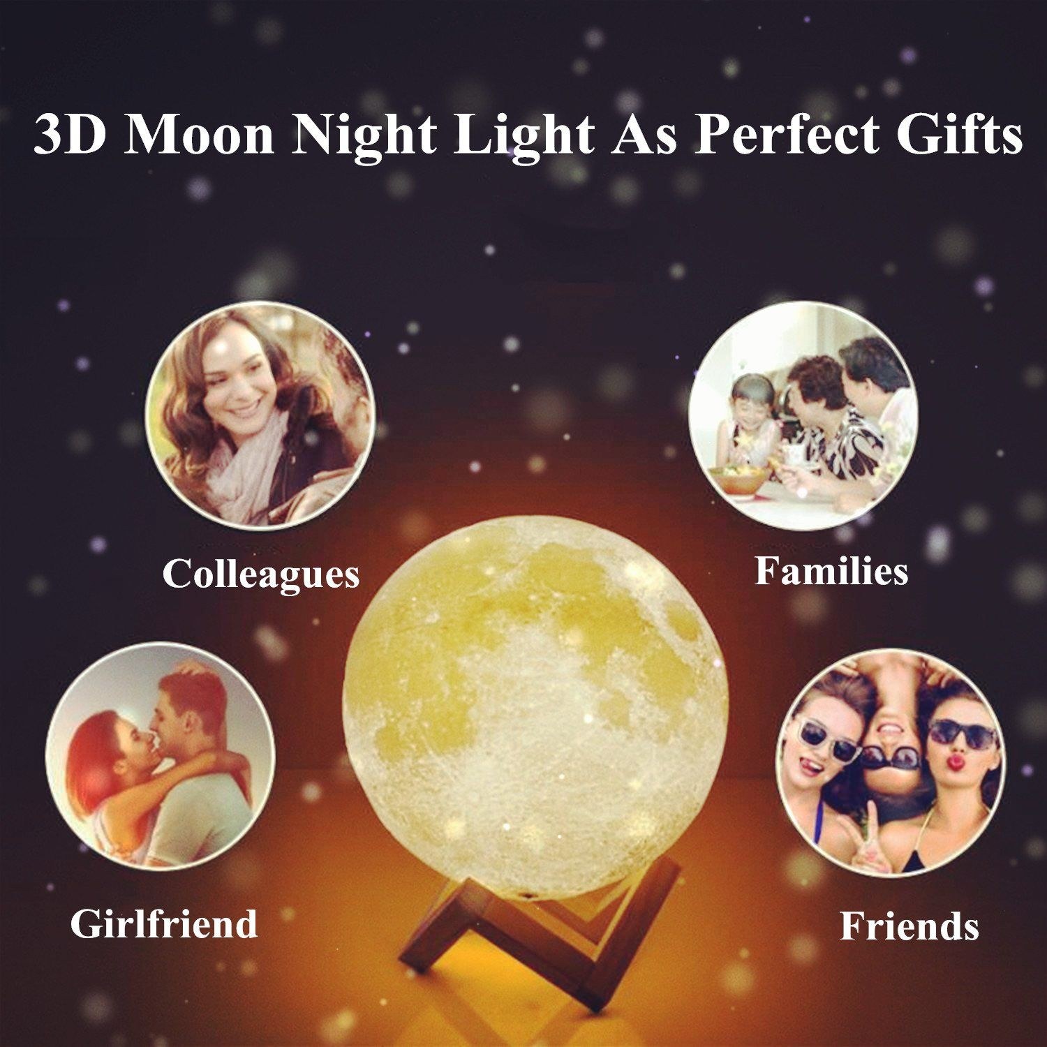 Moon Lamp 3d Priting Nightlight Lunar Led Decorative Lights With Touch Sensor Switch Usb Charging N Nursery Night Light Led Decorative Lights Light Decorations