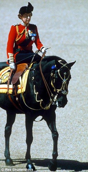 Long-standing love: The Queen, master of the side saddle seen here at Trooping The Colour, on her favourite black mare, Burmese.