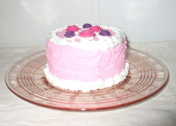 Fake Cake Prop on Pink Depression Glass Optic by BlueVinylVintage, $17.99