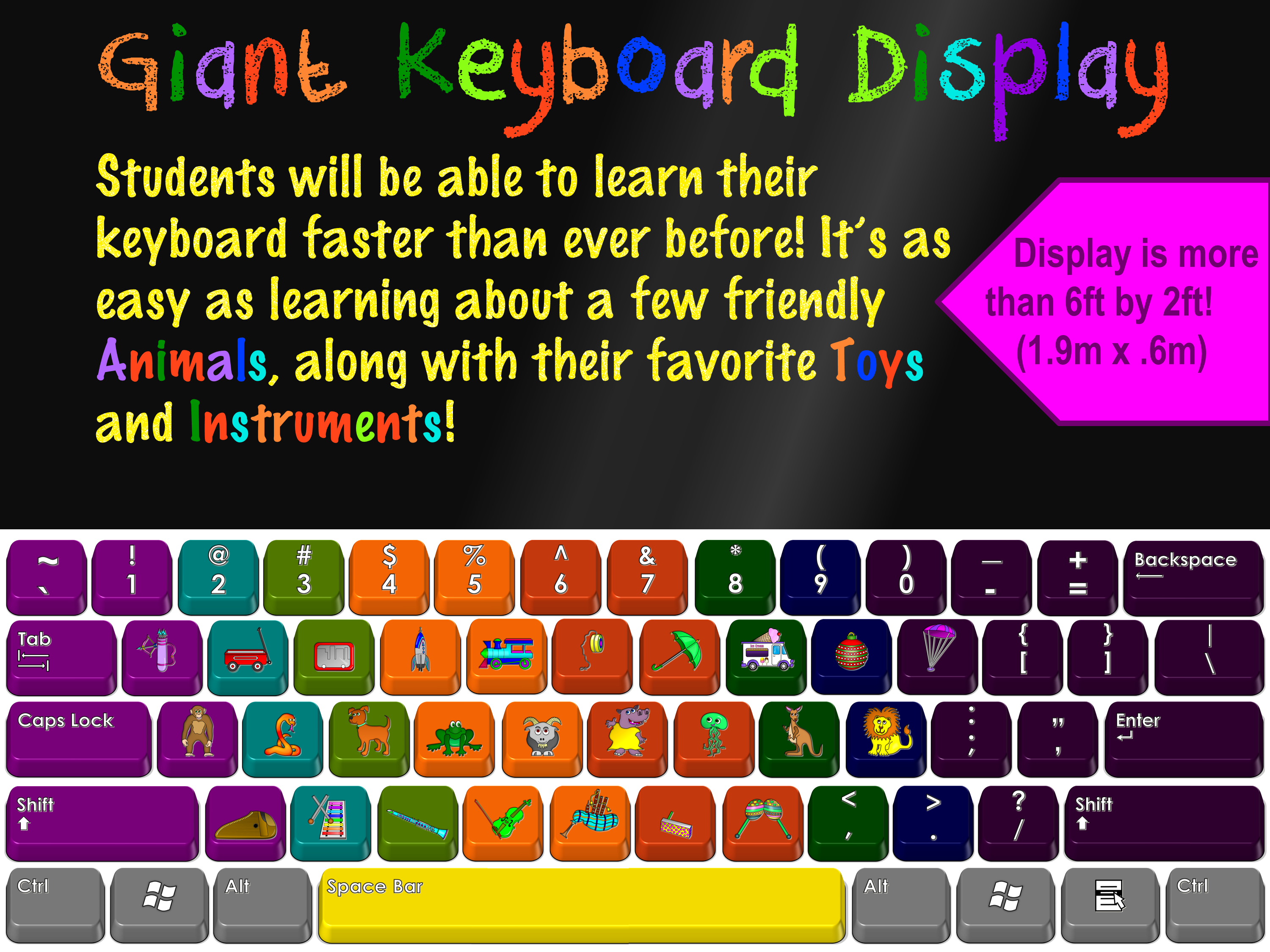 Giant Keyboard Display With Toys Animals Amp Instruments