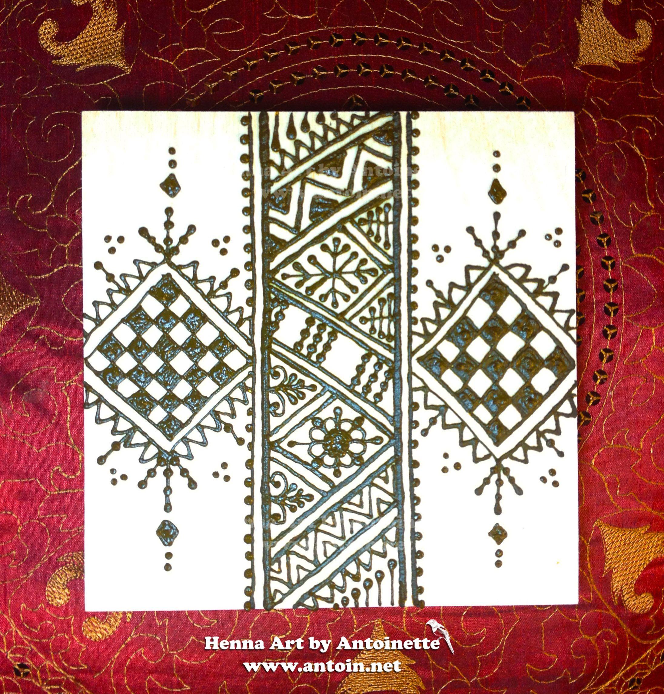 Moroccan Style Art, Henna On Wood Board Wwwantoinnet **