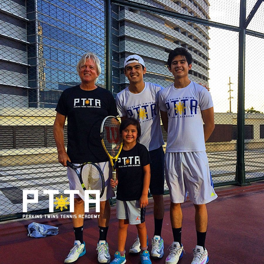 Coach Tarny and the Perkins Twins at the Perkins Twins Tennis Academy in the Philippines, Manila.info@theptta.com #philippine #tennis #coaches #coach #players #lessons #training
