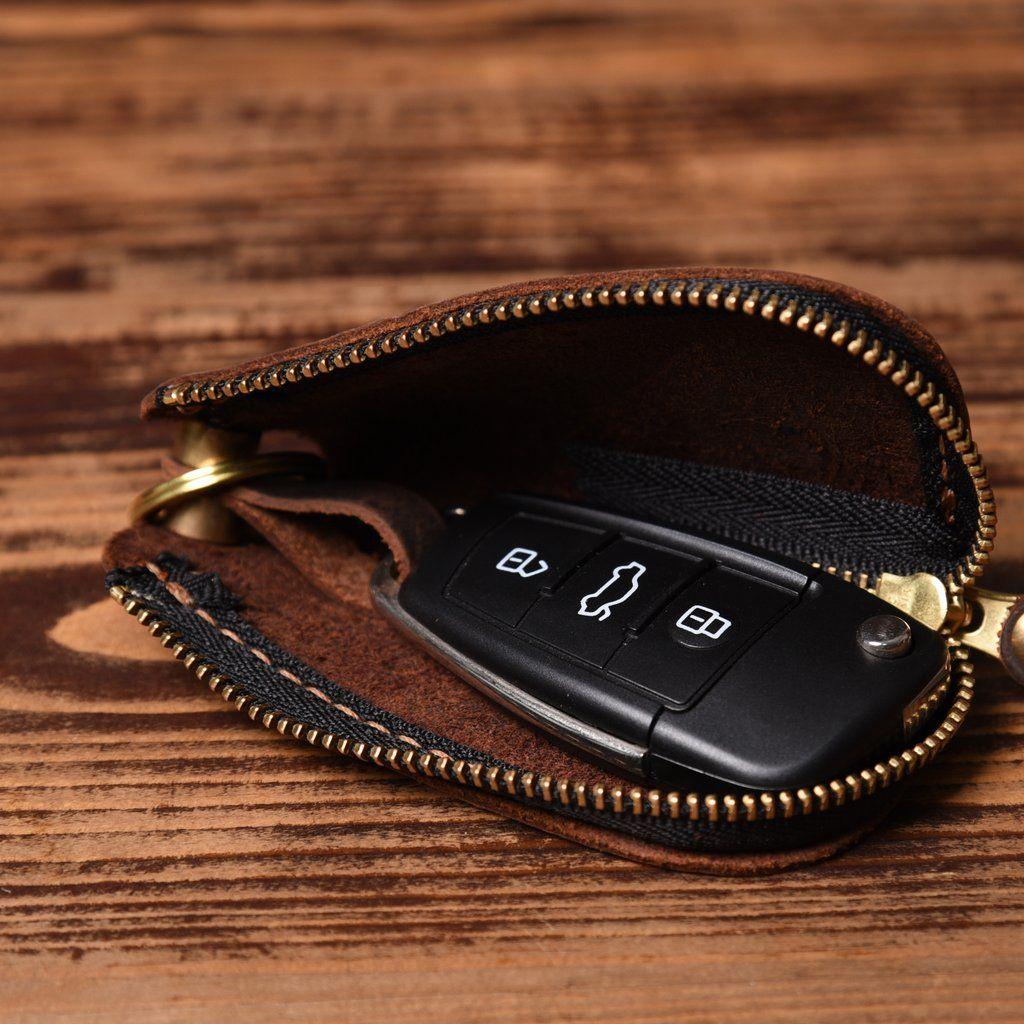 Women Men Genuine Leather Car KeyChain Holder Wallet Ring Case Key Organizer Bag