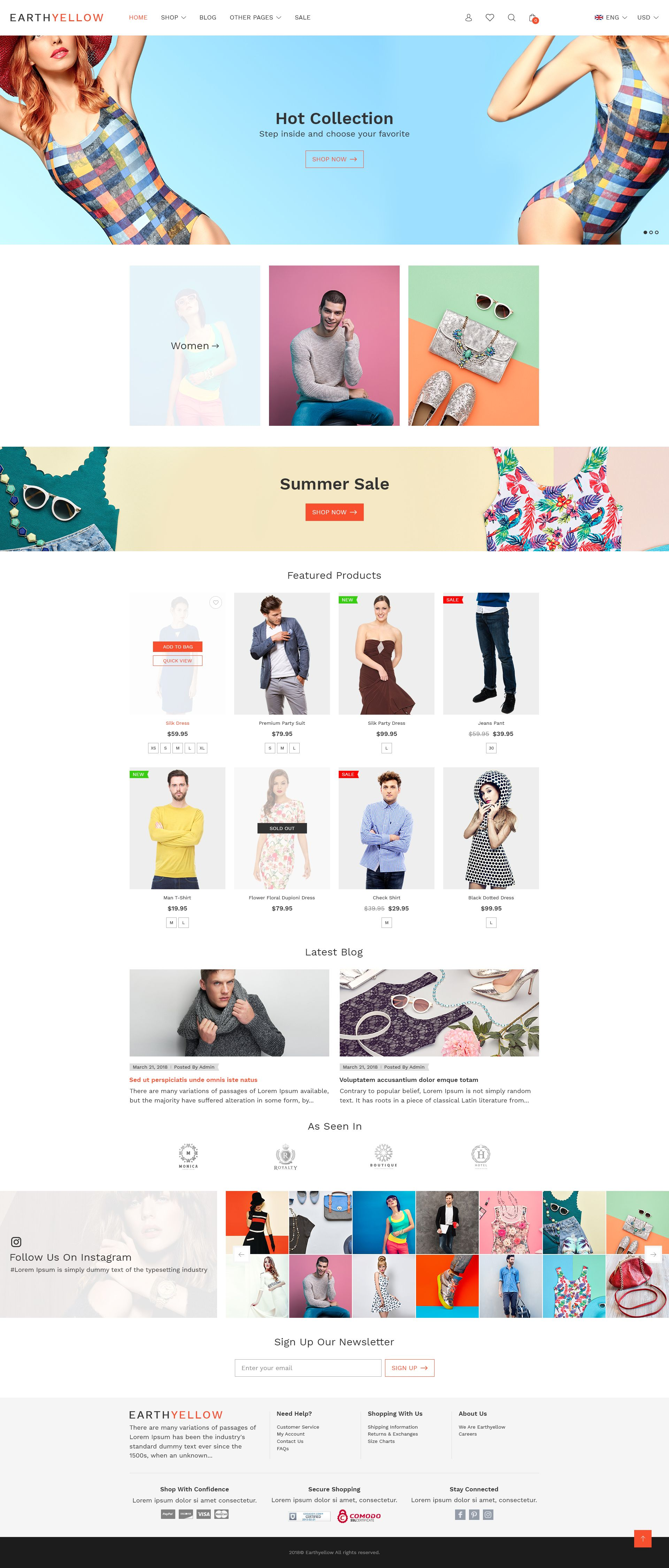 Earthyellow Responsive Ecommerce Html5 Template In 2018 Web