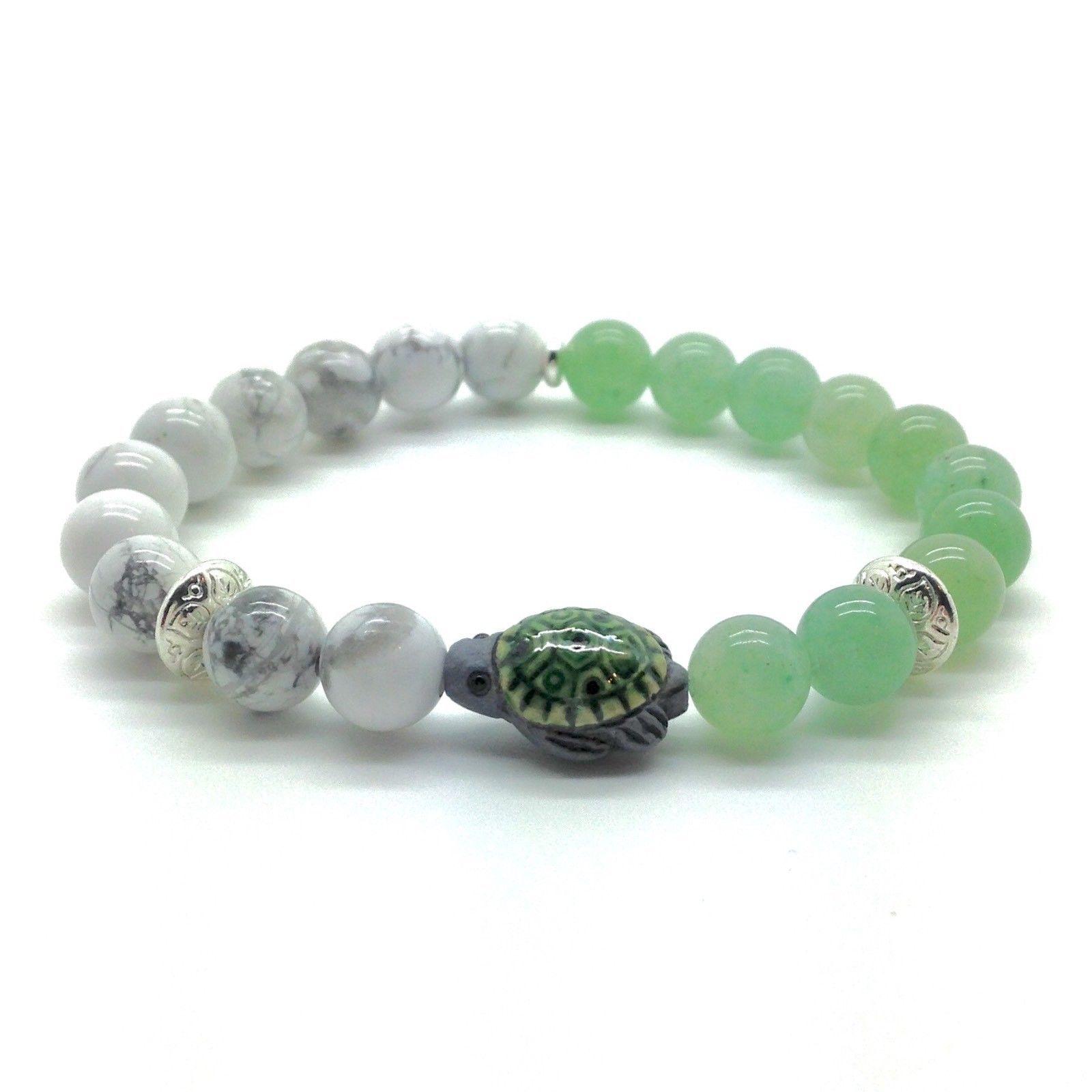 a95ac6e894 Sea Turtle Bracelet Natural Green Aventurine & White Howlite Stone Bead
