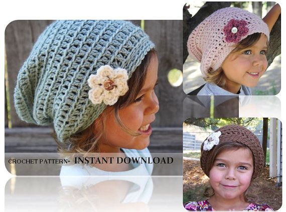 238ecfe406b Crochet Pattern- Child Slouch Beanie with Flower- Little Girl Hat ...