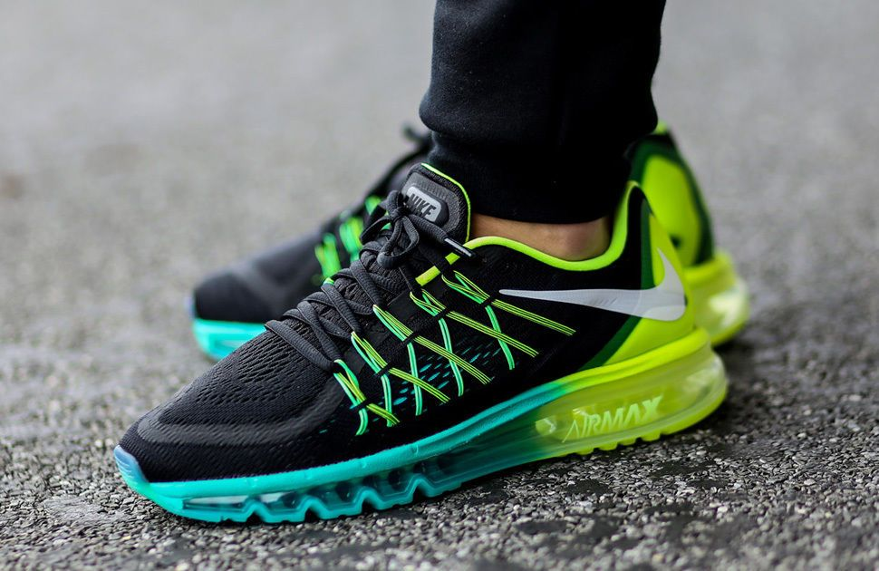 Nike Air Max 2015 Black White Volt Hyper Jade 698902 003 Mens Womens Running Shoes 698902 003