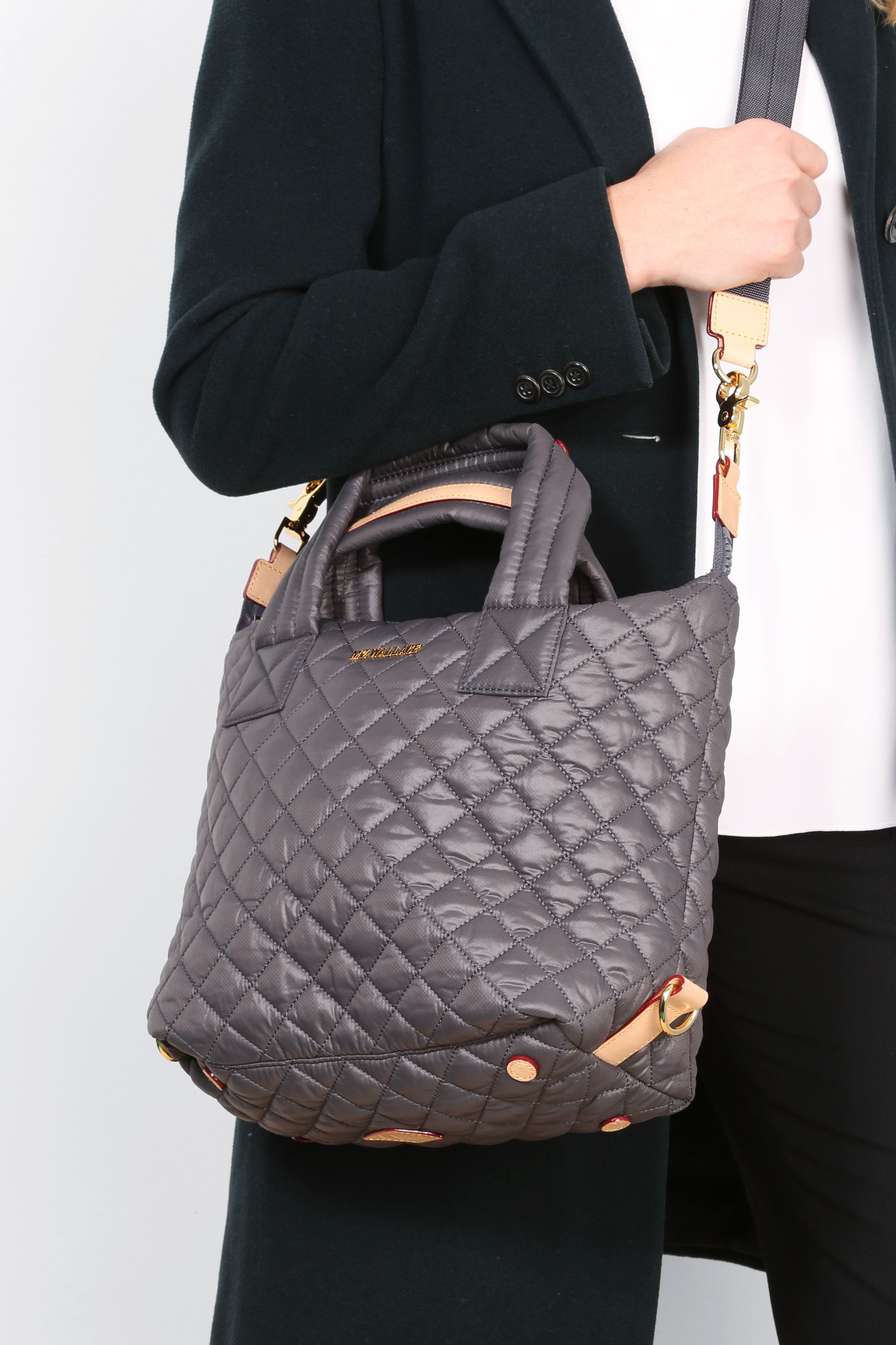 b938cb33e559 MZ Wallace Oxford Nylon Quilted Small Sutton Bag worn with the crossbody  strap.