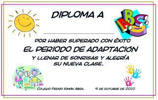 La clase de inma diploma del periodo de adaptaci n for Adaptacion jardin infantil