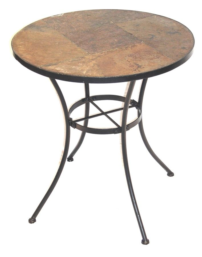 Metal Frame Bistro Table W Round Slate Top