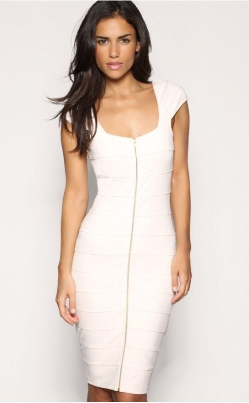White Cap Sleeve Front Zip Bodycon Pencil Dress | Pencil dresses ...