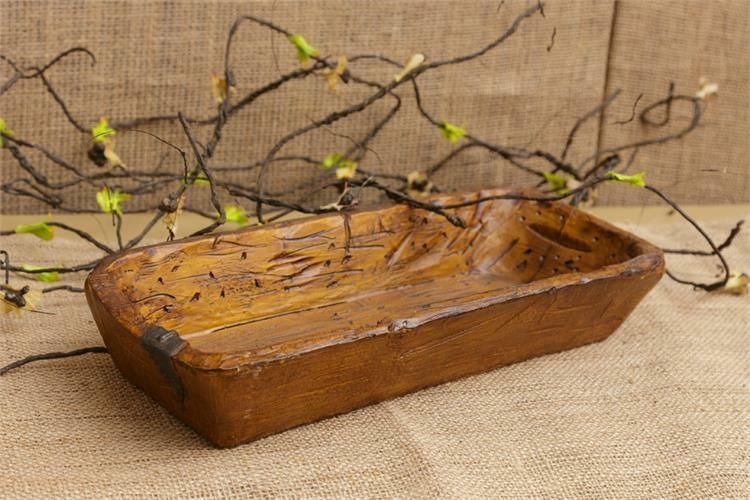Farmhouse Trencher Dish Bowl Distressed Treenware Primitive Vintage Style Resin Countryfarmhou Primitive Decorating Primitive Decorating Country Country Decor