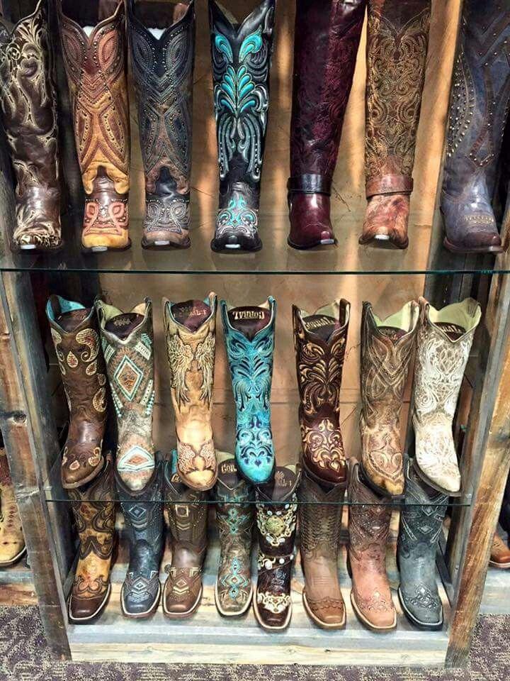 WalkIn Boot Closet Pretty boots, White cowboy boots