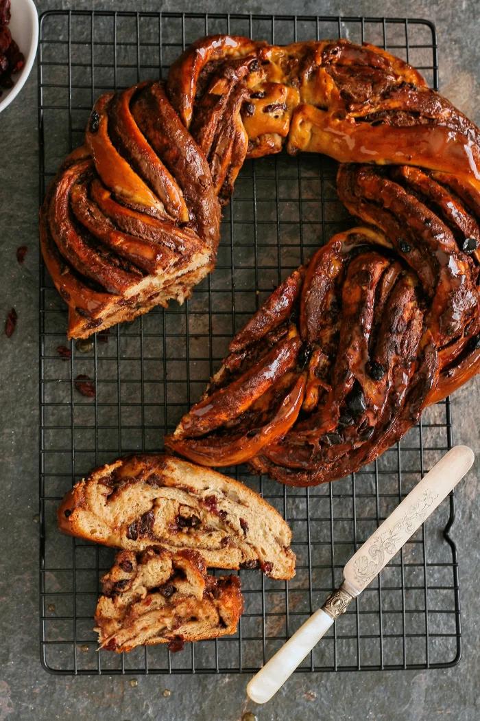 Chocolate hot cross bun loaf