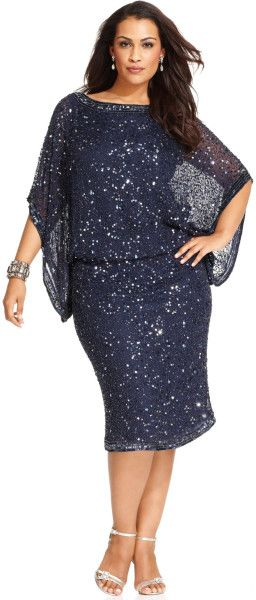 142fe9864d2 Women s Blue Plus Size Kimono-Sleeve Beaded Dress in 2019