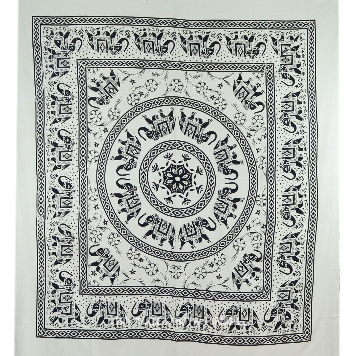 Blue multi elephants sun ombre mandala wall tapestry royalfurnish - Buy Black And White Elephant Mandala Tapestry Wall Hanging Bedspread Bed Cover At Discount Price