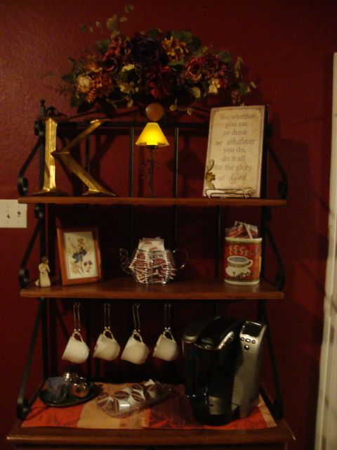 Bakers Rack Turned Coffee Bar In The Home With Images Coffee