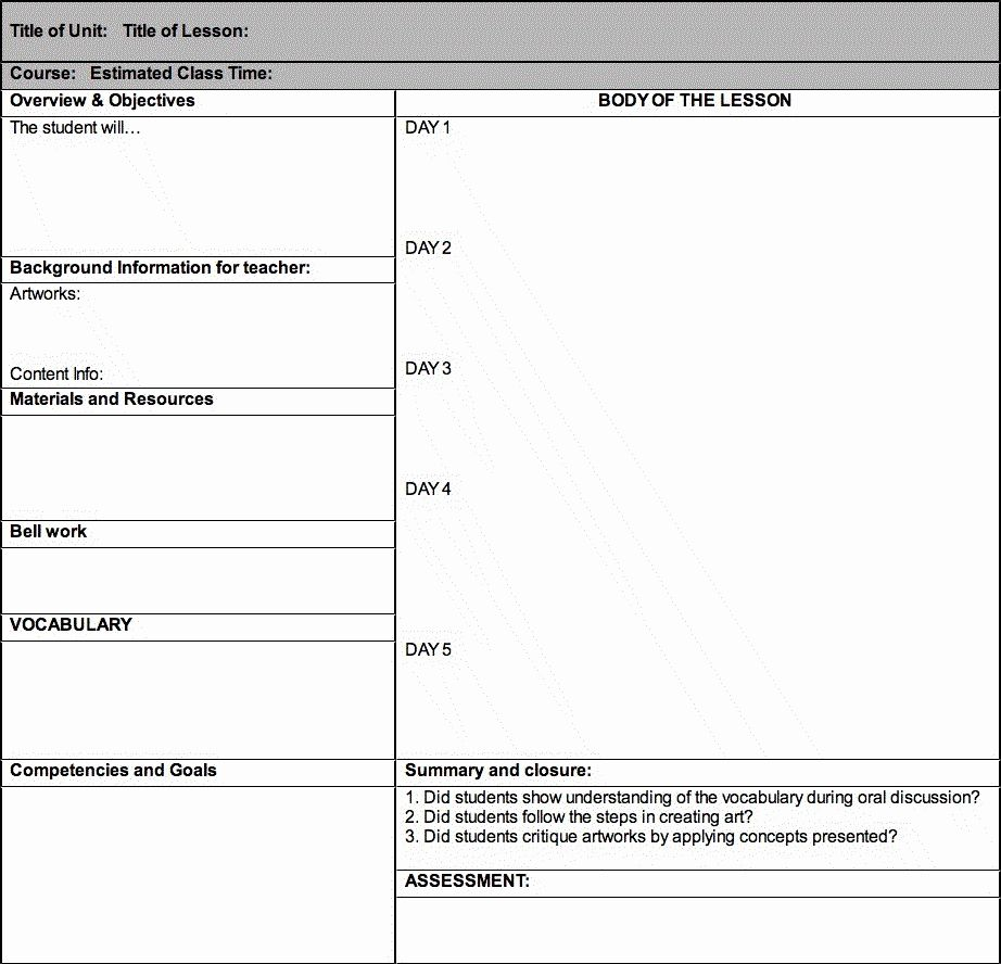 Daily Lesson Plan Template (2020)