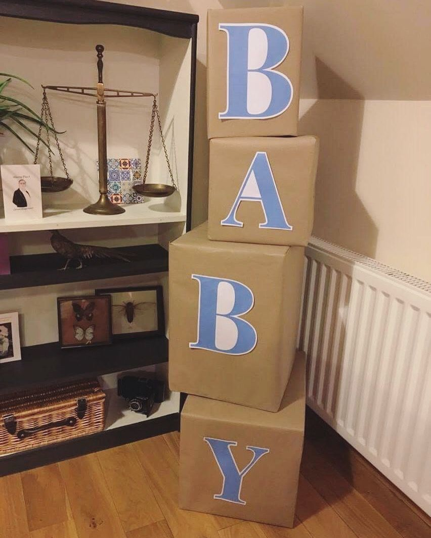 Baby Shower Diy Stacking Blocks Idea Wrap Boxes In Brown Paper