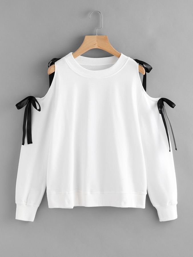 361df44946 Romwe Open Shoulder Bow Tie SweatshirtL Korean Fashion, Fashion Mode, Womens  Fashion, Diy