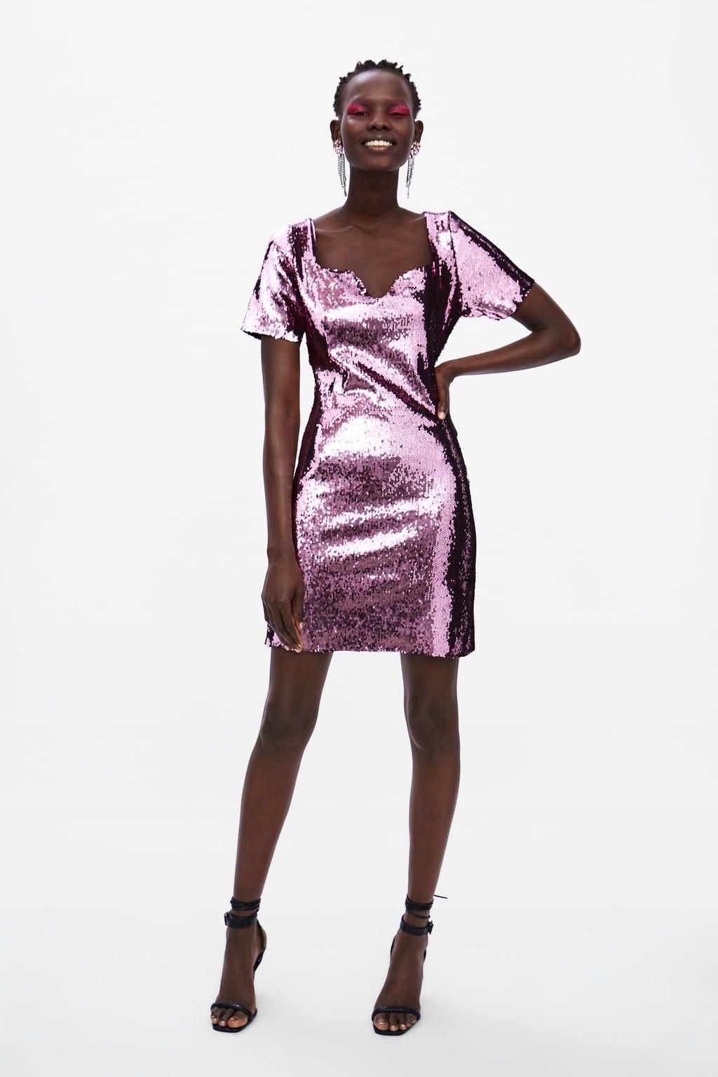 sequin dress - pink-dresses | jumpsuits-woman-sale | zara