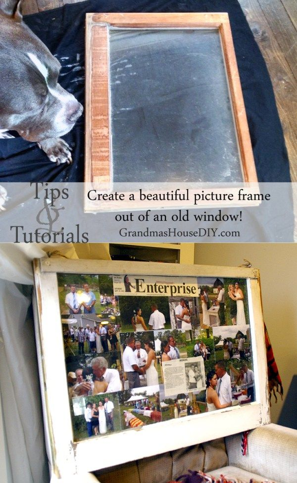 How to: create a picture collage and frame out of an old window ...