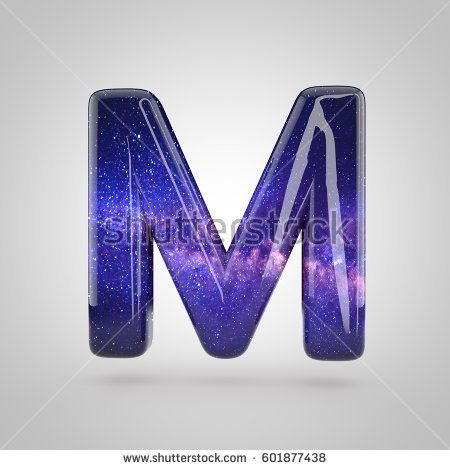cosmic letter m uppercase 3d render of galaxy bubble font with glint isolated on white background