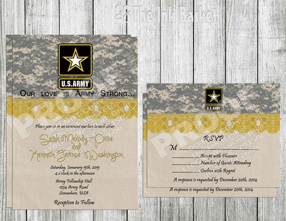 Wedding Printable Invitation And Rsvp Army Strong Camouflauge Logo Yellow Lace Military Inviations On Etsy 12 00