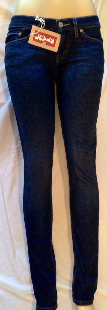 Levi Womens 524 Skinny Jeans Size 3 Medium Junior Straight Leg Nwt Blue  Jeans #Levis
