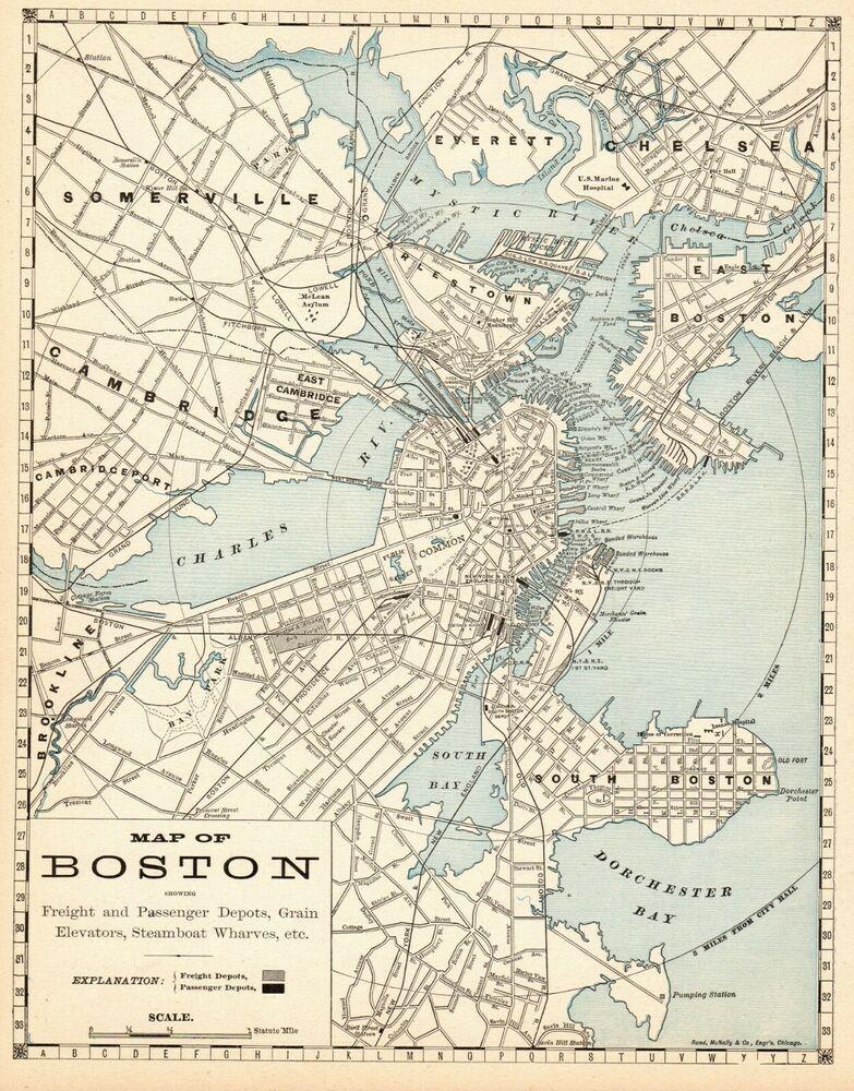 1889 Antique Boston Map Vintage Map Of Boston Massachusetts City Map 6488 Boston Map Map Historical Maps