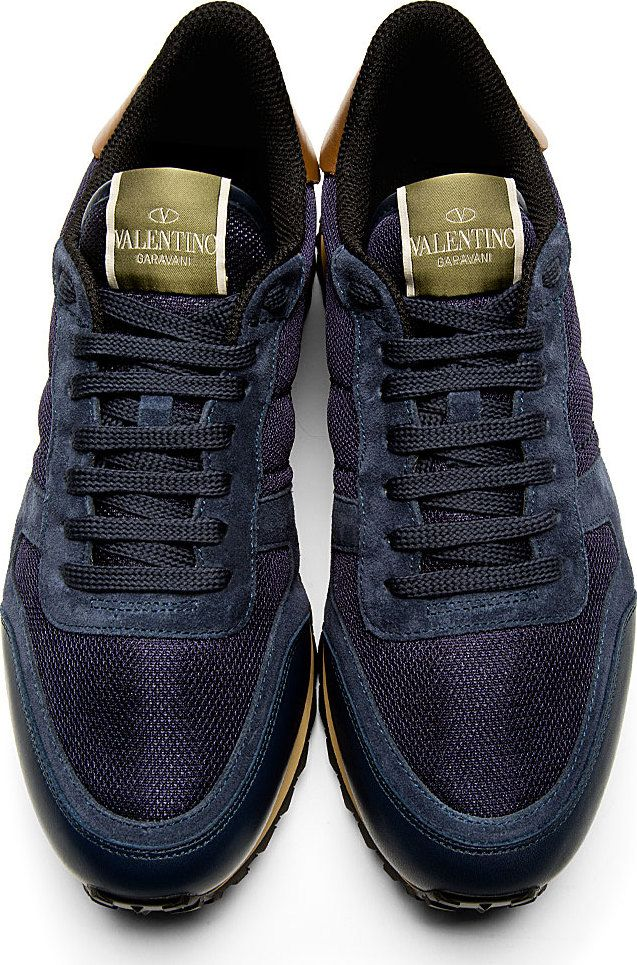 1e081c97adcfc Valentino: Navy Mesh Leather Studded Sneakers   Things to Wear in ...