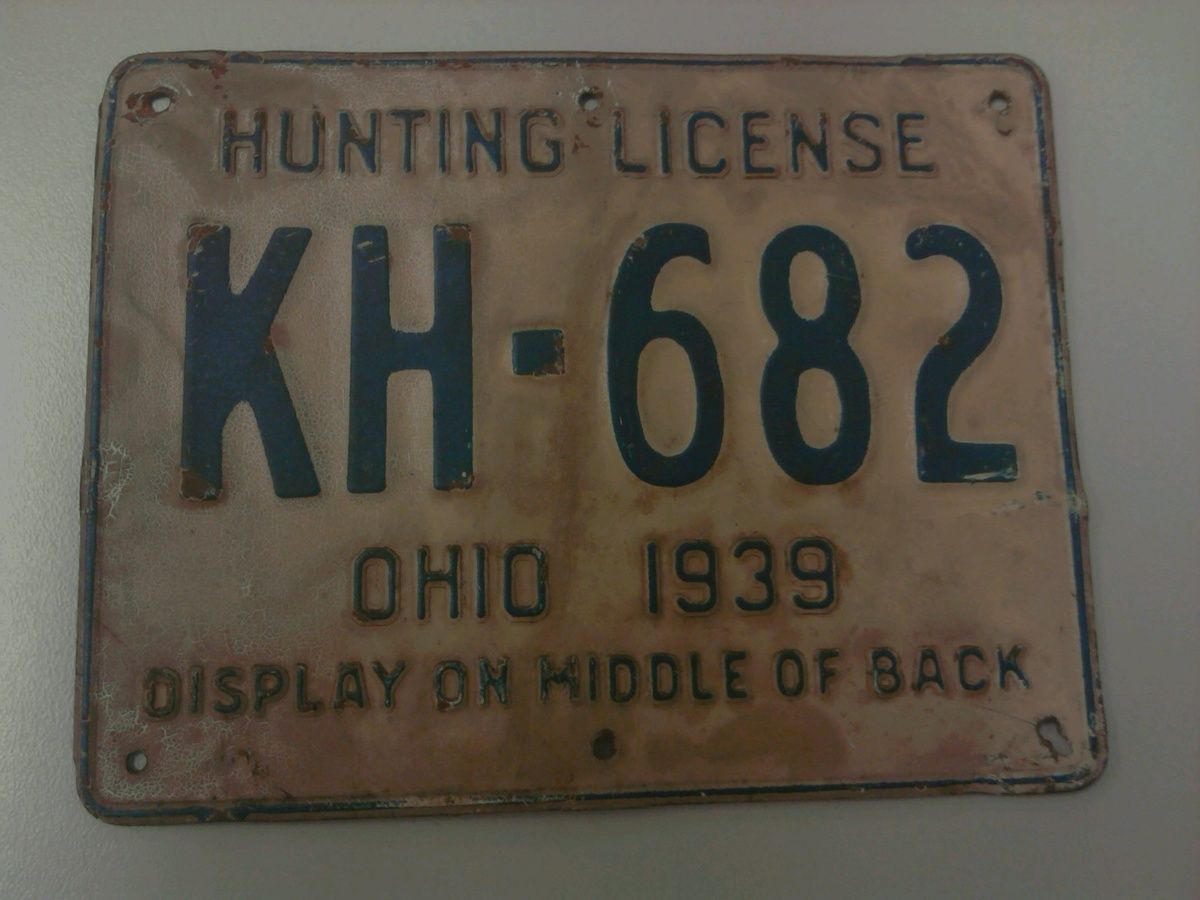 1939 Ohio Hunting License, a rare antique, because of deer