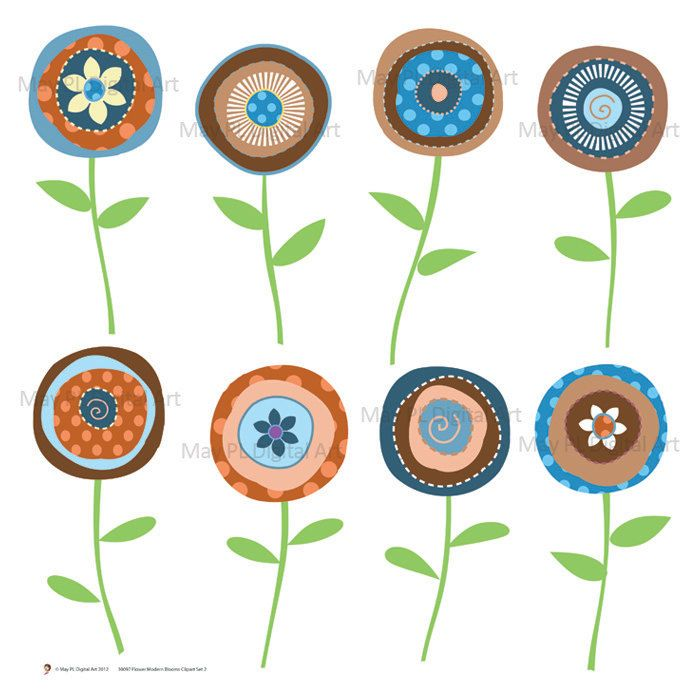 Flower Clipart Floral Clip Art Digital Flower Scrapbooking Supplies Blue Brown Make Your Own Invitation 10098. $4.70, via Etsy.