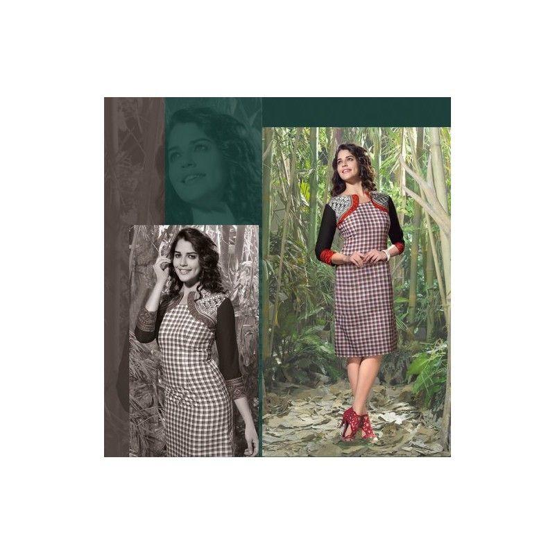 Viva N Diva Black, White & Red color Lilen Kurti. http://goo.gl/lVLBRu