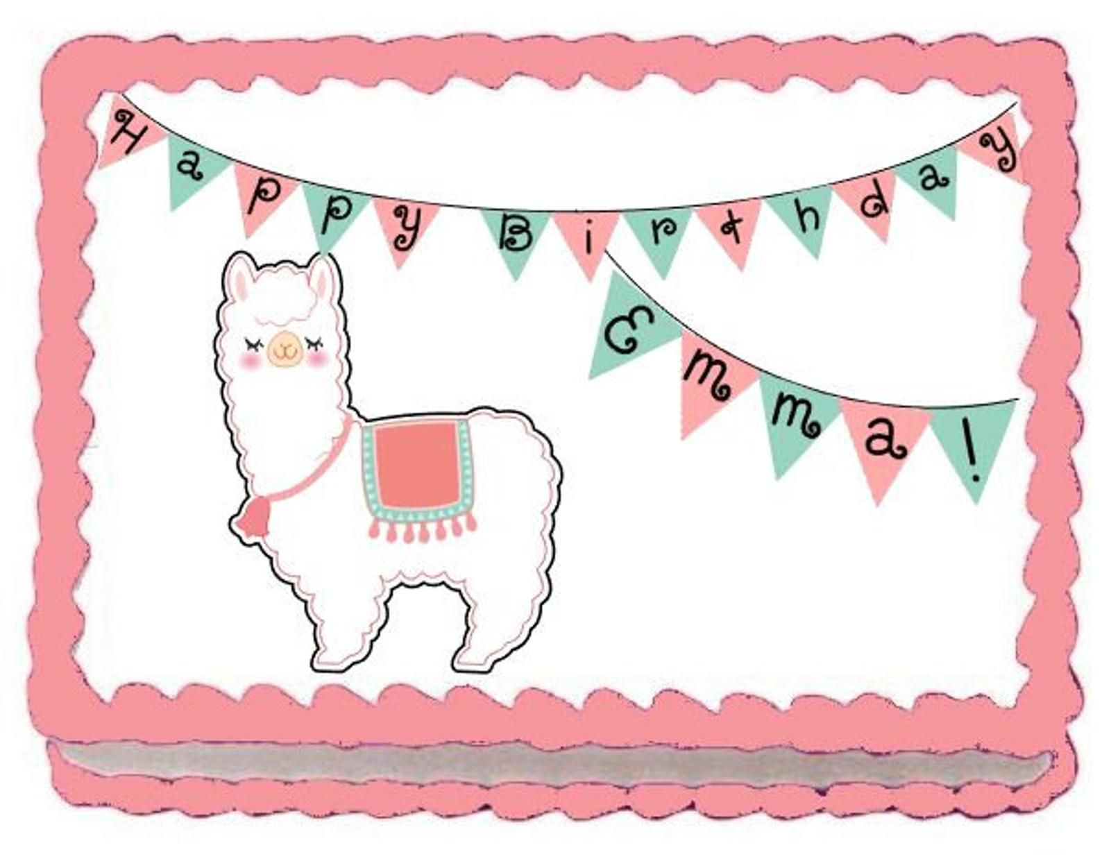 Llama Alpaca Edible Image Cake Topper (With images ...