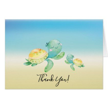 Sea Turtle Baby Shower Thank You Note Card  Baby Gifts Child New