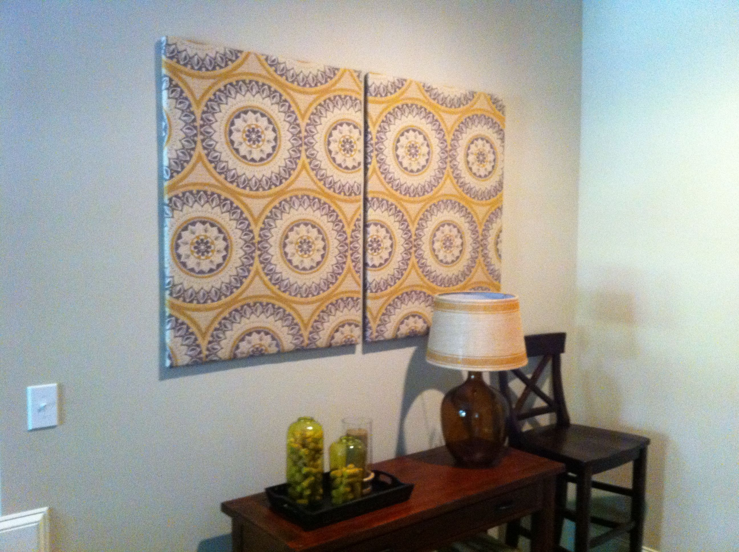 Upholstery Fabric Stapled Gunned To Inexpensive Canvas Frames Creates A