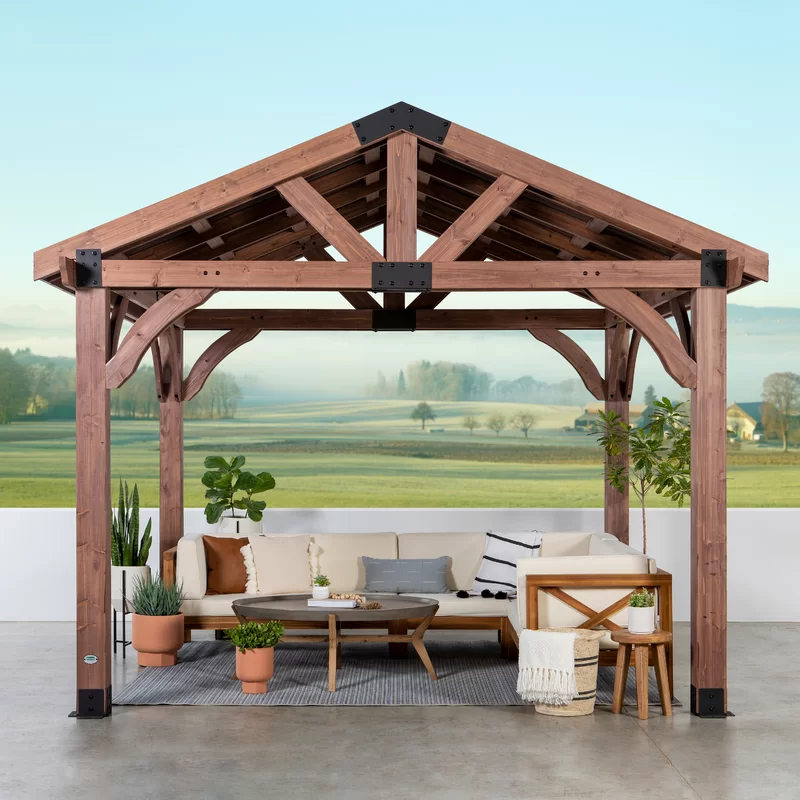 Arlington 12 Ft W X 10 Ft D Solid Wood Patio Gazebo In 2020 Patio Gazebo Gazebo Backyard