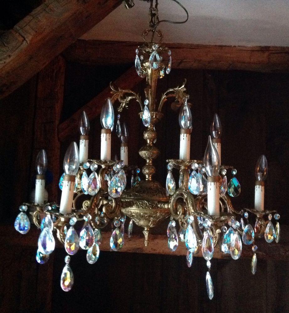 Gorgeous vintage bronze 12 light aurora borealis crystal chandelier gorgeous vintage bronze 12 light aurora borealis crystal chandelier ab antique arubaitofo Choice Image