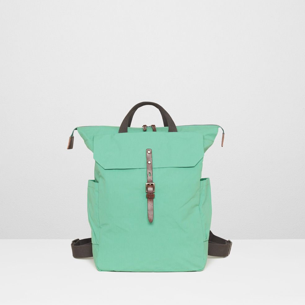 for picnics: ashley proofed cotton utility rucksack in green (with a waterproof lining) | ally capellino.