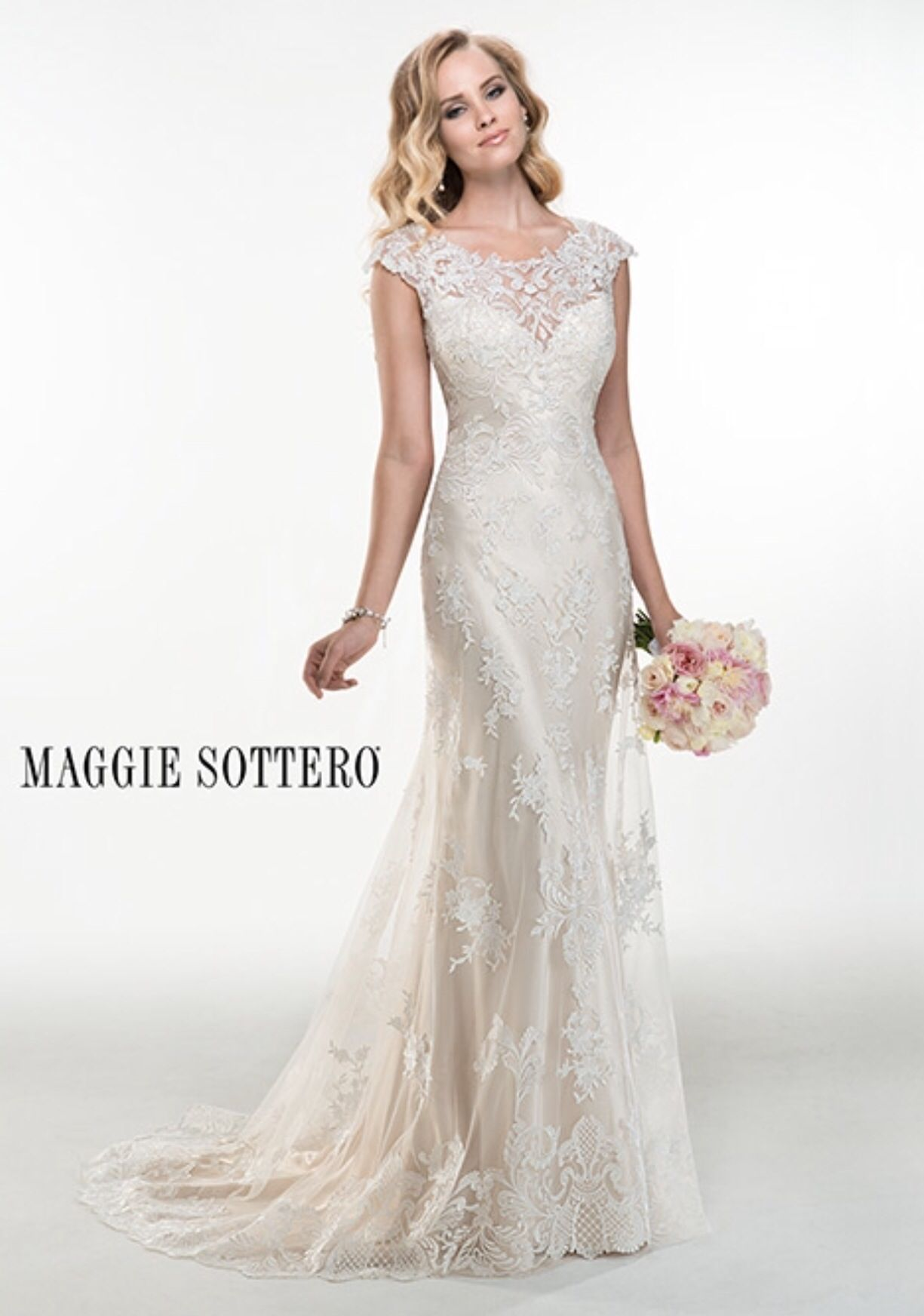Lace with satin underlay with pearl button back bride dress