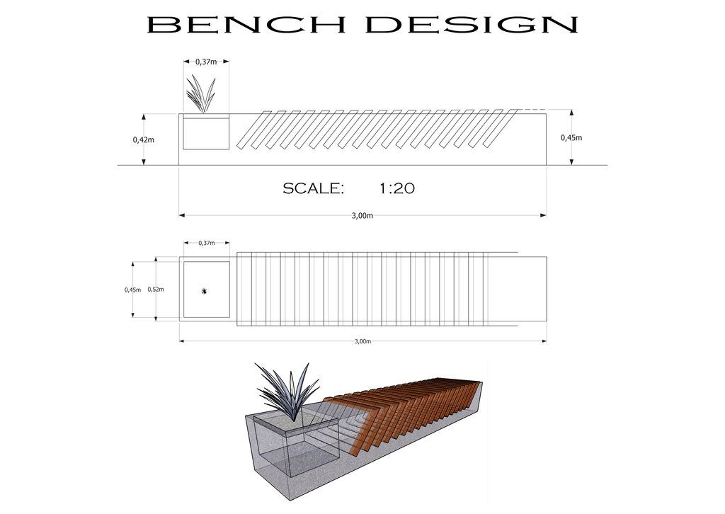 Concrete bench design detail drawing crazy creations for Sitting table designs