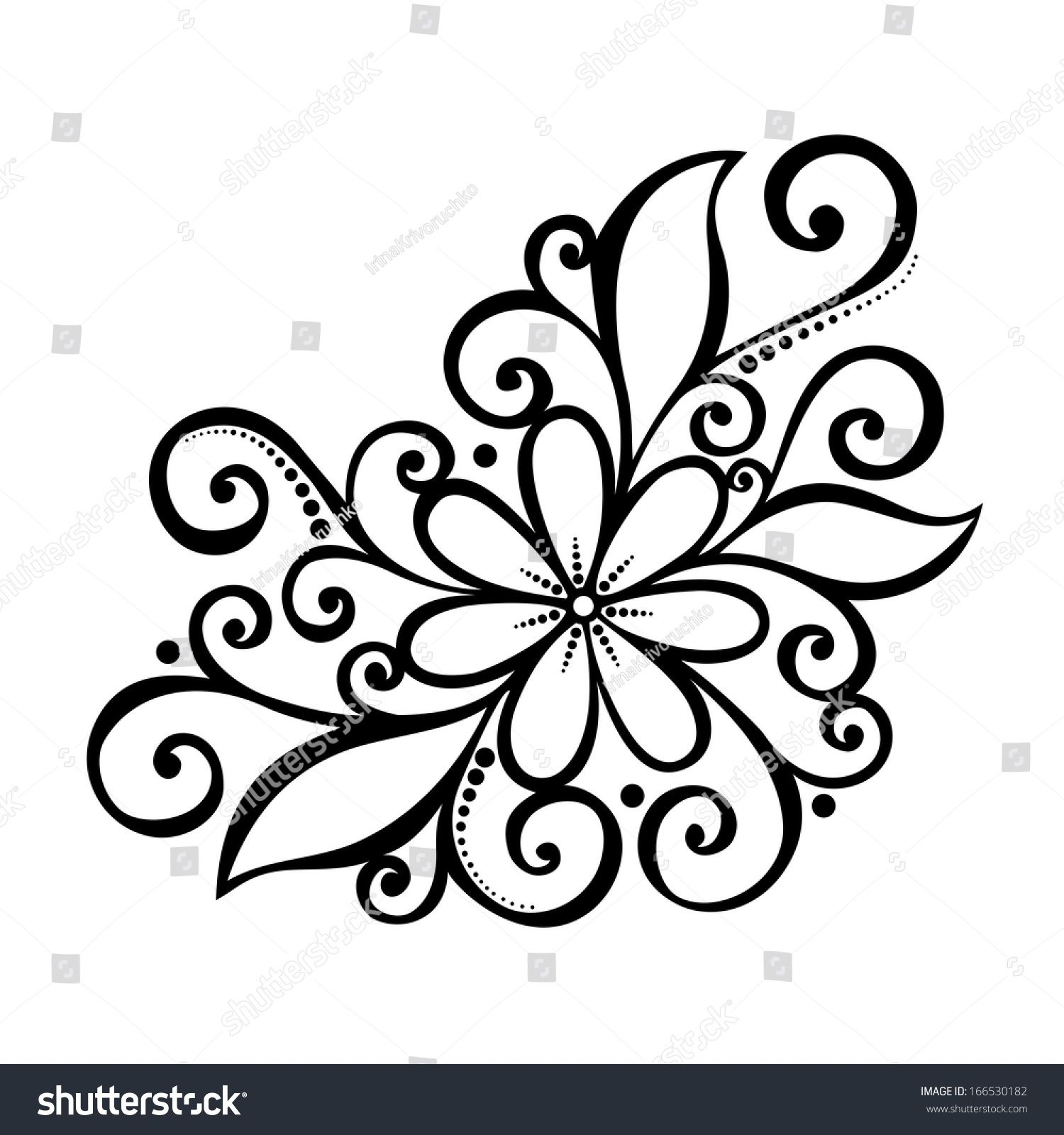 Beautiful Decorative Flower With Leaves Patterned Design Flower