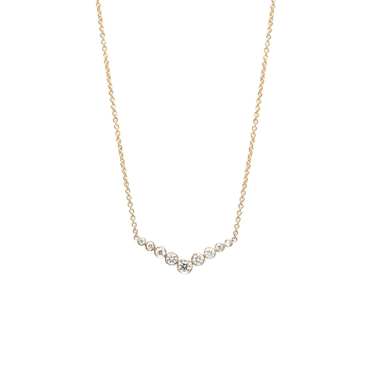 K graduated bezel set v necklace gold jewellery and gold
