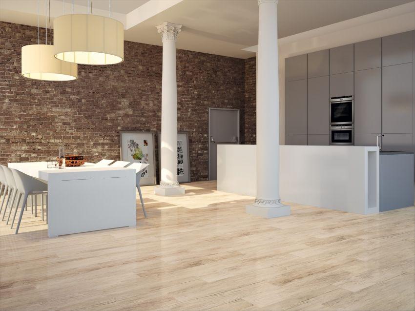 Pavimento imitaci n madera ekos natural brillo 1 20x114 for Azulejo de parquet negro imitacion