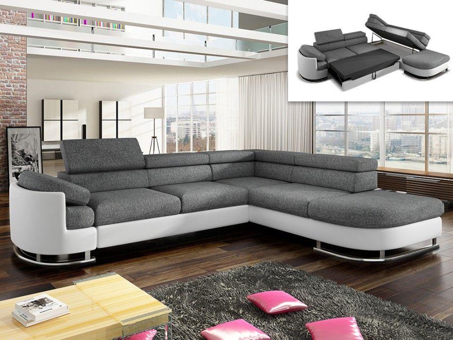 Canapé d'angle droit en tissu et simili Blanc et gris