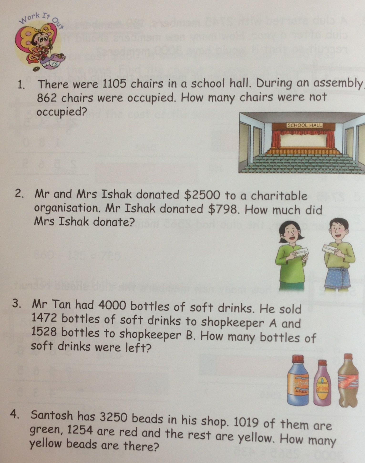 math worksheet : some grade 3 word problems on subtraction from in step maths 3a  : Singapore Math Word Problems