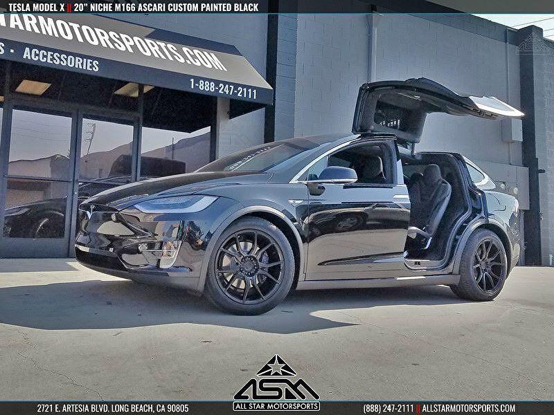 Tesla Modelx Falcon Wing Doors On 20 Nicheroadwheels M166 Ascari Custom Painted Black 888 247 2111 For Sales And Inquiries Tesla Custom Paint Motorsport
