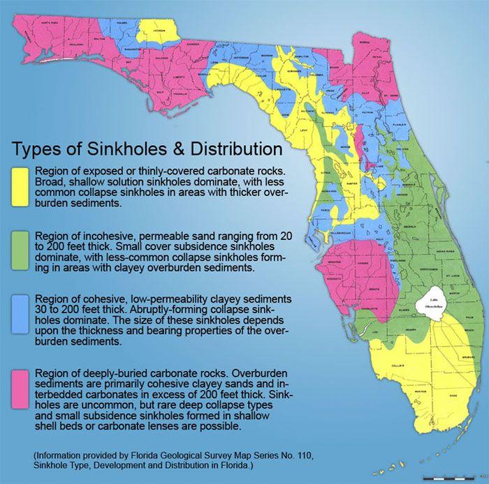 Map Of Spring Hill Florida.Types Of Florida Sinkholes And Distribution Florida Florida
